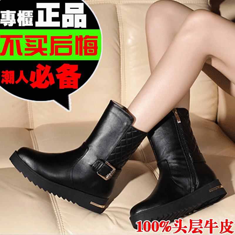 欧美秋冬新款真皮厚底中筒靴平底马丁靴女 春秋英伦风坡跟短靴 女
