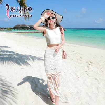 [限时两天] 显瘦白色蕾丝流苏沙滩裙V领无袖露腰两件套海边度假性感中长裙