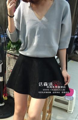 韩国馆 THX GIVING正品 小性感深V领纯色收腰短款针织衫女罩衫 潮
