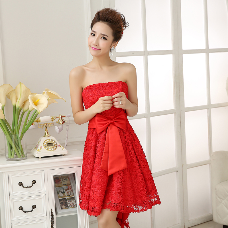 2014新款红色抹胸婚纱礼服前短后长蕾丝修身敬酒服晚礼服时尚晚装