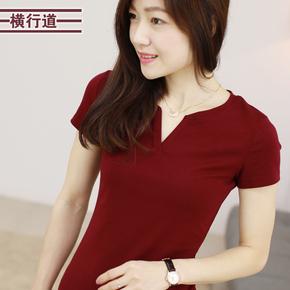 夏装新款 女装体恤胖mm大码韩版女士上衣V领纯棉短袖女T恤打底衫