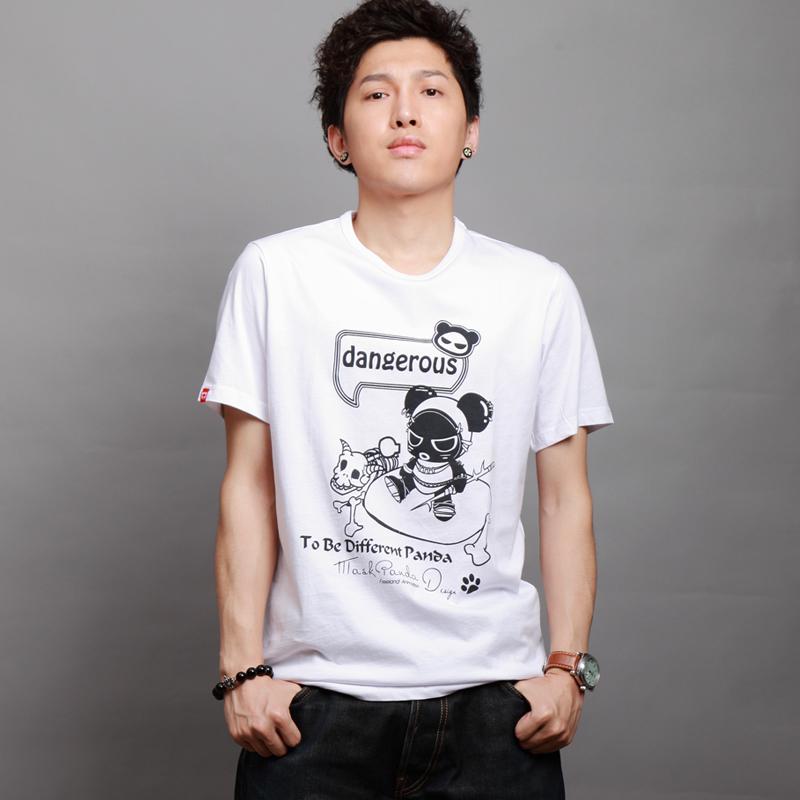 夏装男式鬼脸熊猫品牌T恤男装纯棉男士短袖t恤男款修身潮t5折特惠