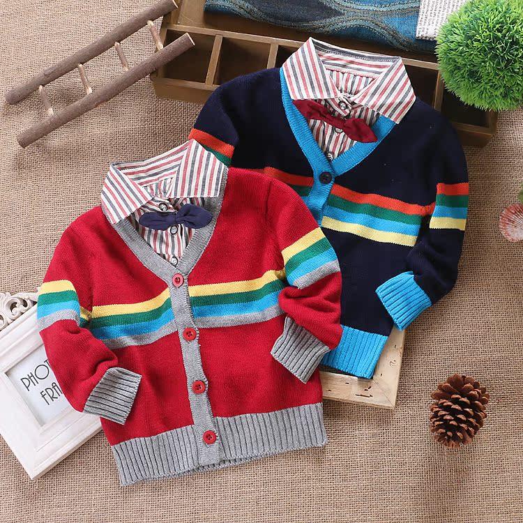 早秋新款童装男童针织开衫宝宝V领假两件毛衣外套儿童纯棉韩版潮