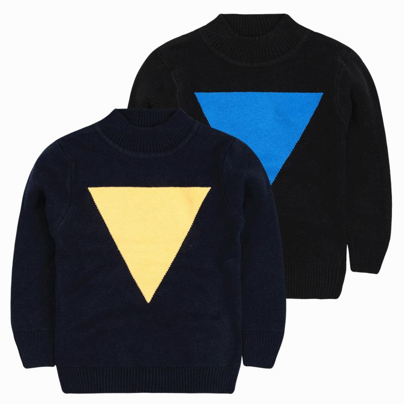 男童毛衣加厚冬 儿童韩版打底针织衫双层提花毛衫线衣3-4-5-6岁潮