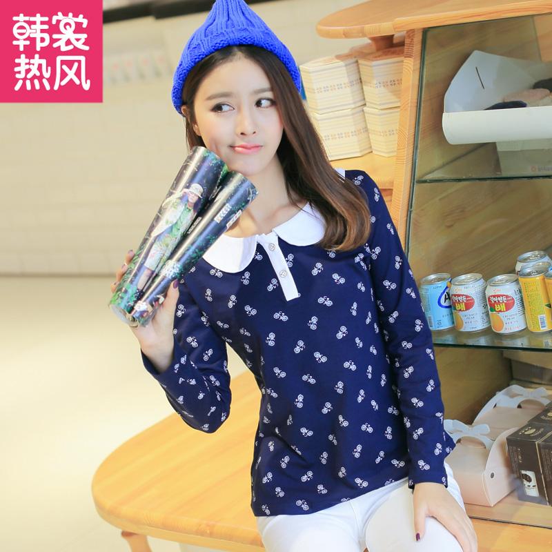 韩裳热风2015春装新款韩版波点可爱娃娃领长袖T恤中学生装打底衫