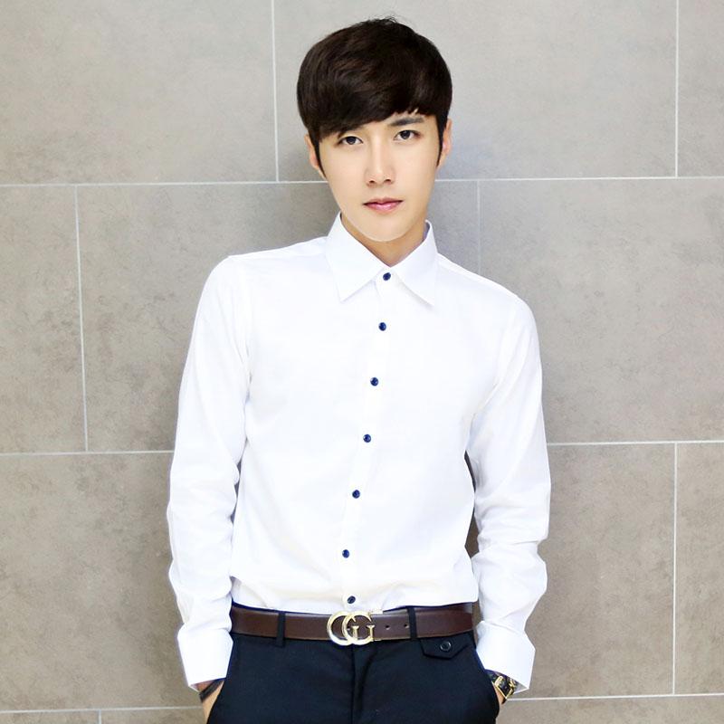 韩国模特 纯棉黑色纽扣 百搭修身 男士百搭必备长袖衬衫 K50/F50