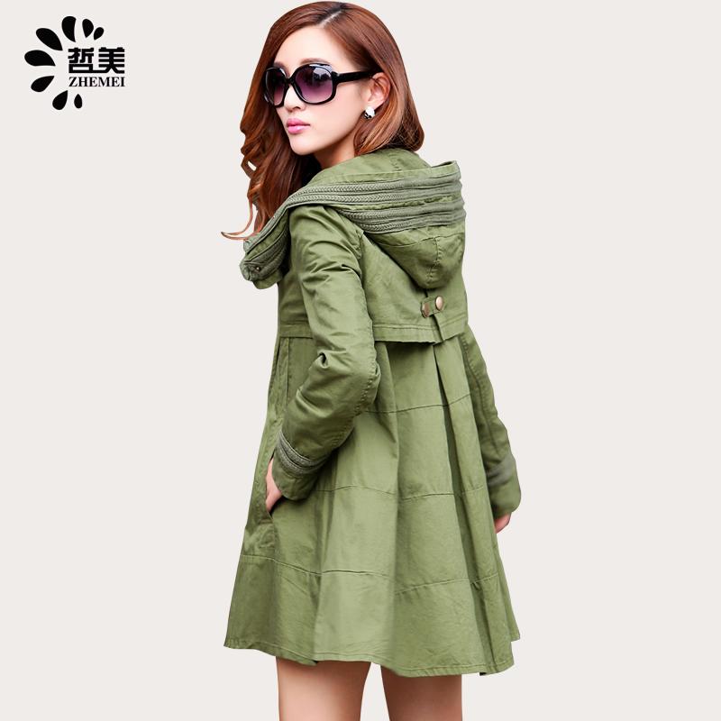 哲美新款韩国大码宽松斗篷外套春装中长款蕾丝拼接女式纯棉风衣女