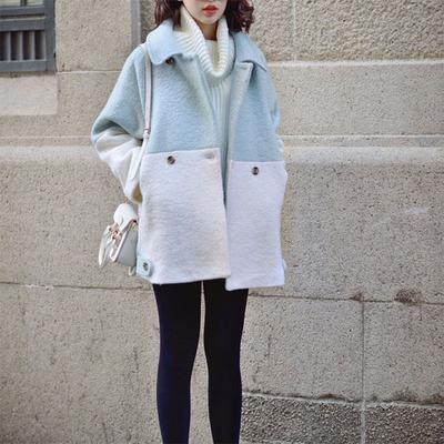 [新品上市] 2015冬装大衣厚圈圈呢拼接双排扣韩版宽松茧型毛呢女外套学生