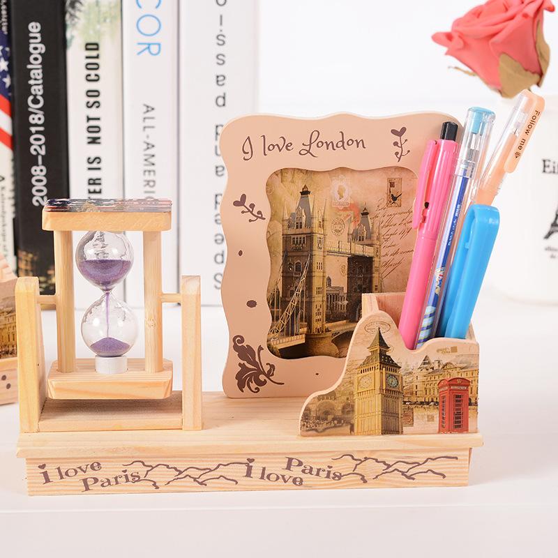 相框流沙笔筒多功能木质工艺品学生礼品赠品6寸7寸8