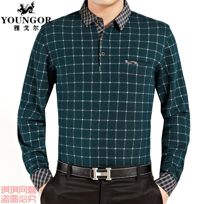 正品雅戈尔秋装长袖t恤男装商务休闲中老年男上衣加肥加大体恤衫