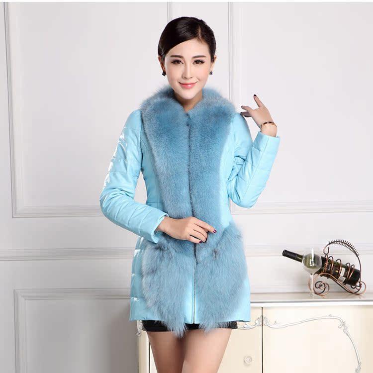新款真皮羽绒女韩版中长款修身气质皮风衣淑女装外套狐狸毛领羊皮