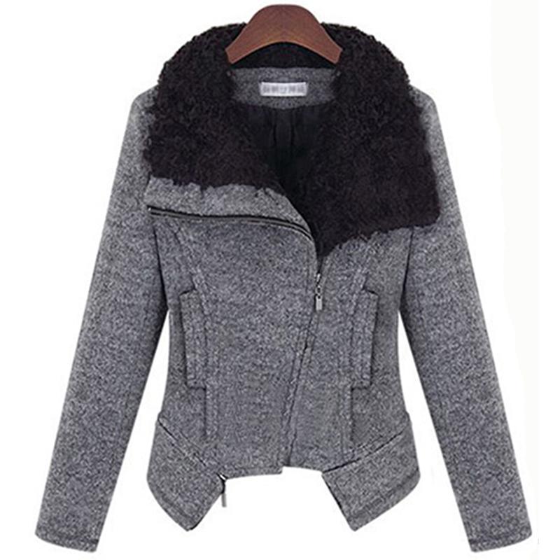 styleonme2014秋装新款女装 纯色毛呢外套短款翻领保暖棉衣2617