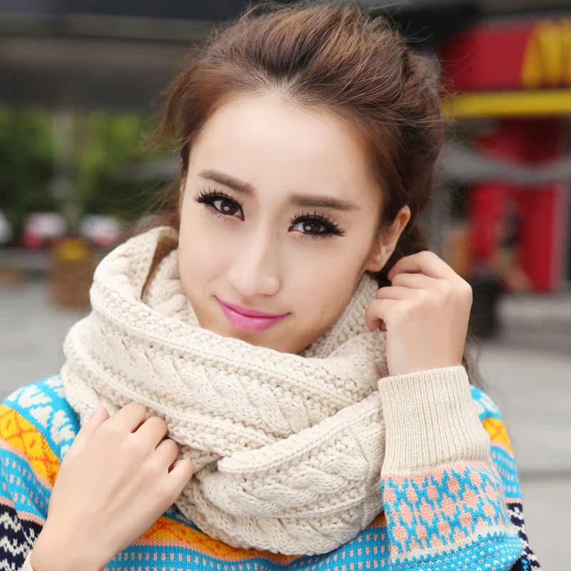 韩版潮麻花针织围巾 男女士 秋冬天 保暖情侣套头纯色毛线围脖女