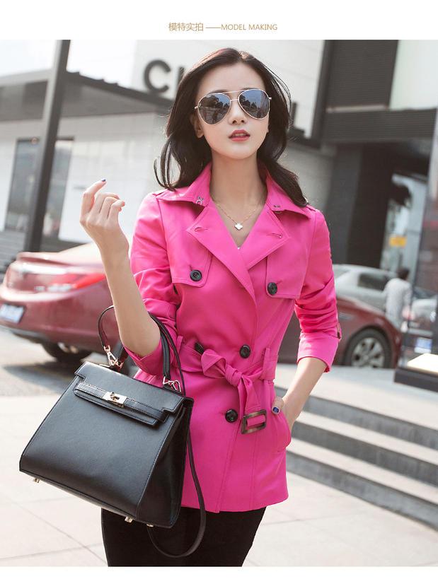 2014秋装新款韩版修身双排扣短款风衣女时尚系带女外套长袖翻领款
