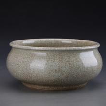 仿古瓷器清哥釉钵式香炉景德镇古董瓷器收藏古典摆件复古陈设瓷