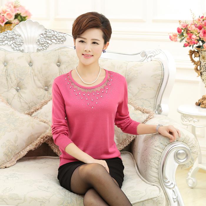 2014秋冬装新款女韩版妈妈装羊毛衫女套头打底纯色镶砖长袖毛衣女