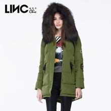 LINC金羽杰冬帅气军旅风大毛领羽绒服女中长款加厚宽松外套6J2616图片