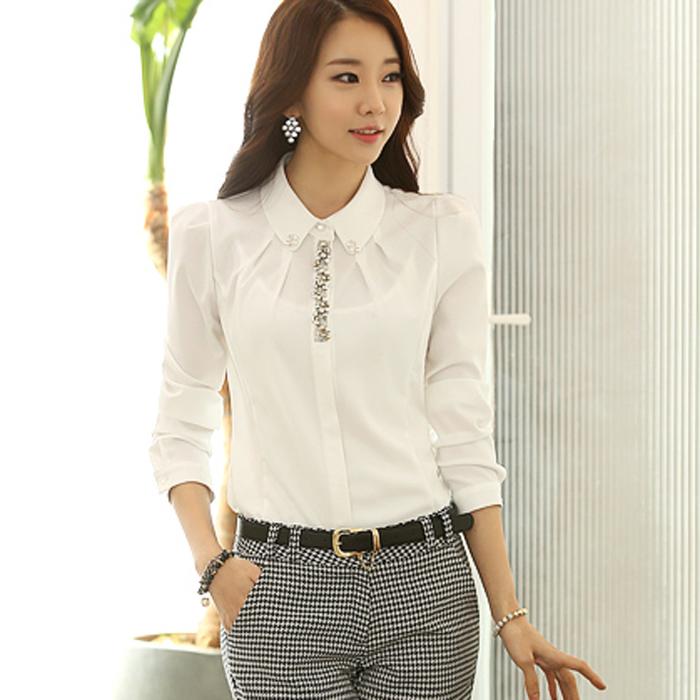 2014新款秋装韩版百搭白色钉珠衬衫女长袖修身职业女式衬衣雪纺衫