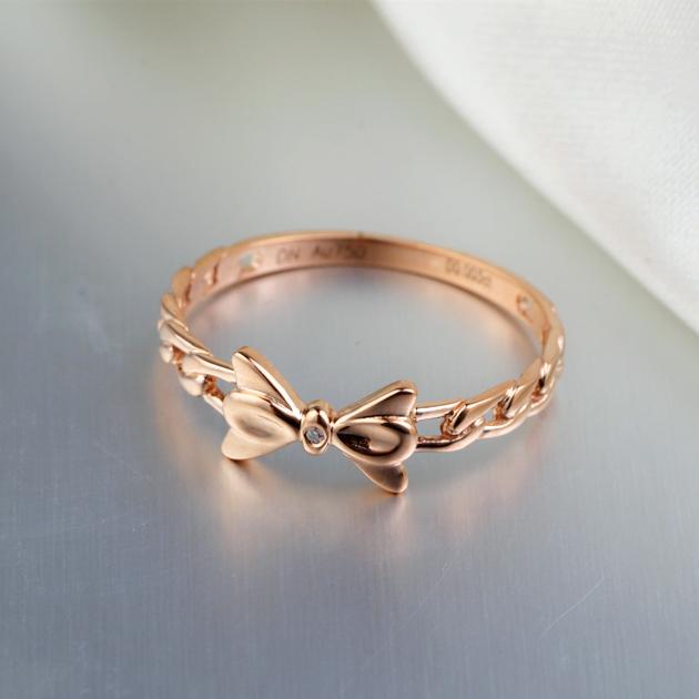 戴妮珠宝18K玫瑰金0.01分钻石女戒群镶嵌钻玫瑰金秀气小清新钻戒