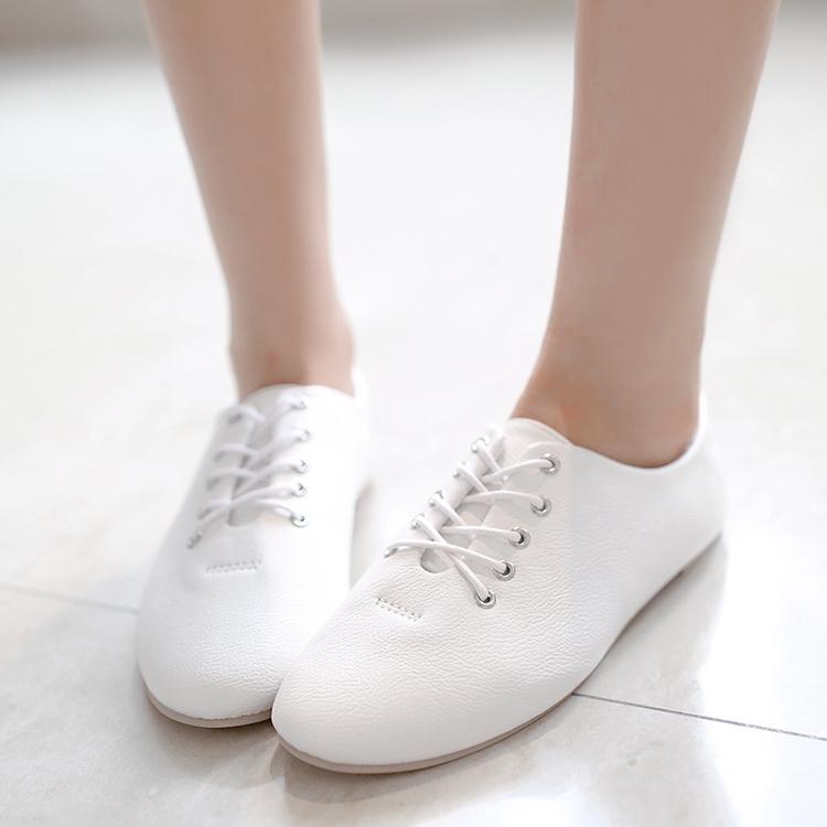 2014年秋纯色鞋带英伦风系带舒适软皮面平跟百搭小白鞋女单鞋2014
