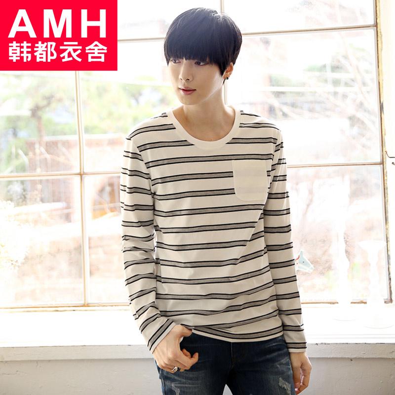 【品牌团】AMH男装韩版2015春装新款圆领条纹长袖T恤NZ2468燊