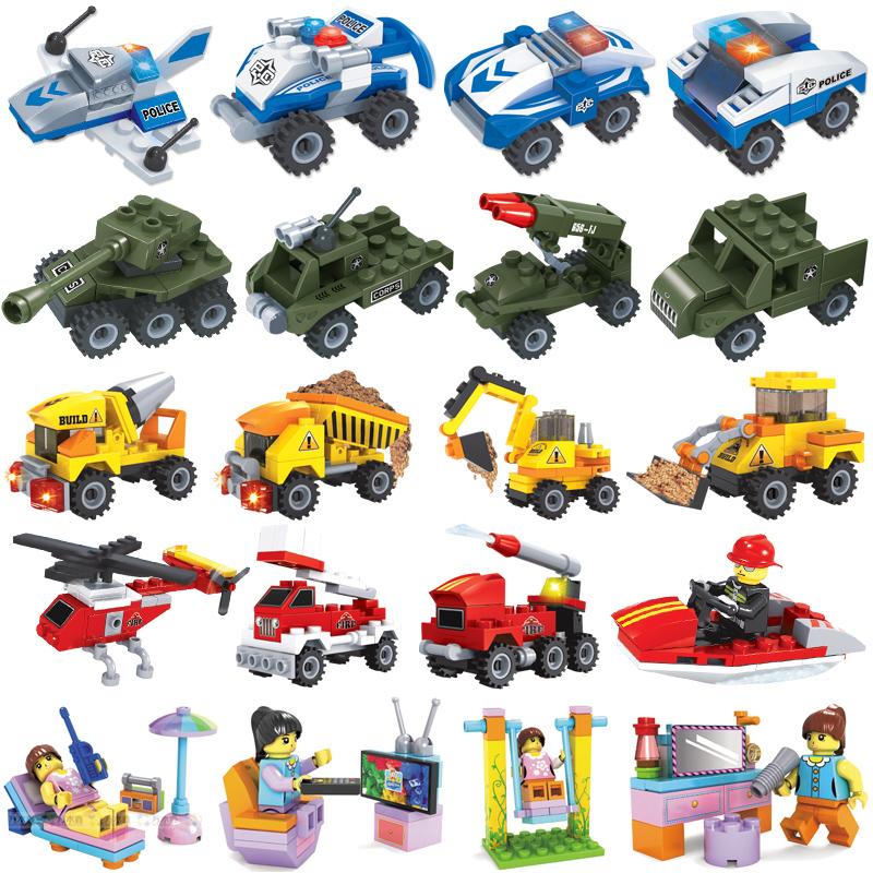 儿童玩具兼容乐高积木军事工程警察车小颗粒益智拼装diy男女孩子