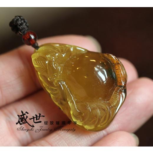 【盛世-珠宝商供应平台】天然琥珀蜜蜡 金蜜吊坠 6.20克