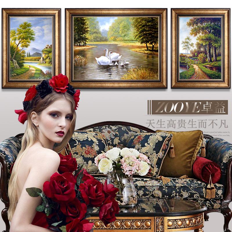 欧式客厅装饰画墙上挂画沙发背景美式墙画简欧风格