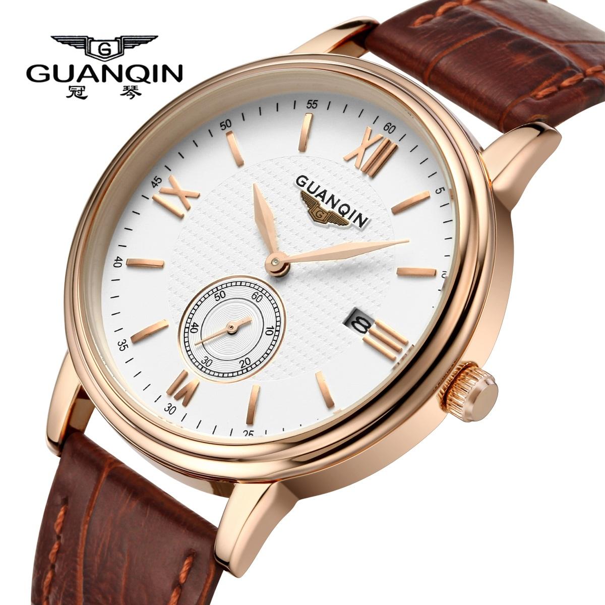 瑞士正品冠琴男表防水手表男超薄皮带手表男石英表真皮腕表