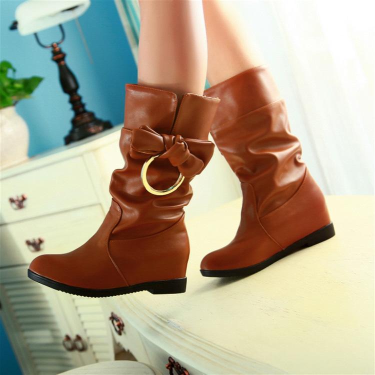 2014秋冬新款短筒靴平底圆头套筒靴真皮舒适休闲马丁靴女鞋女短靴