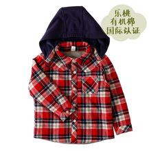 乐桃和家有机棉小童法兰绒格带帽棉衬衫儿童秋冬衬衣童装2014新款