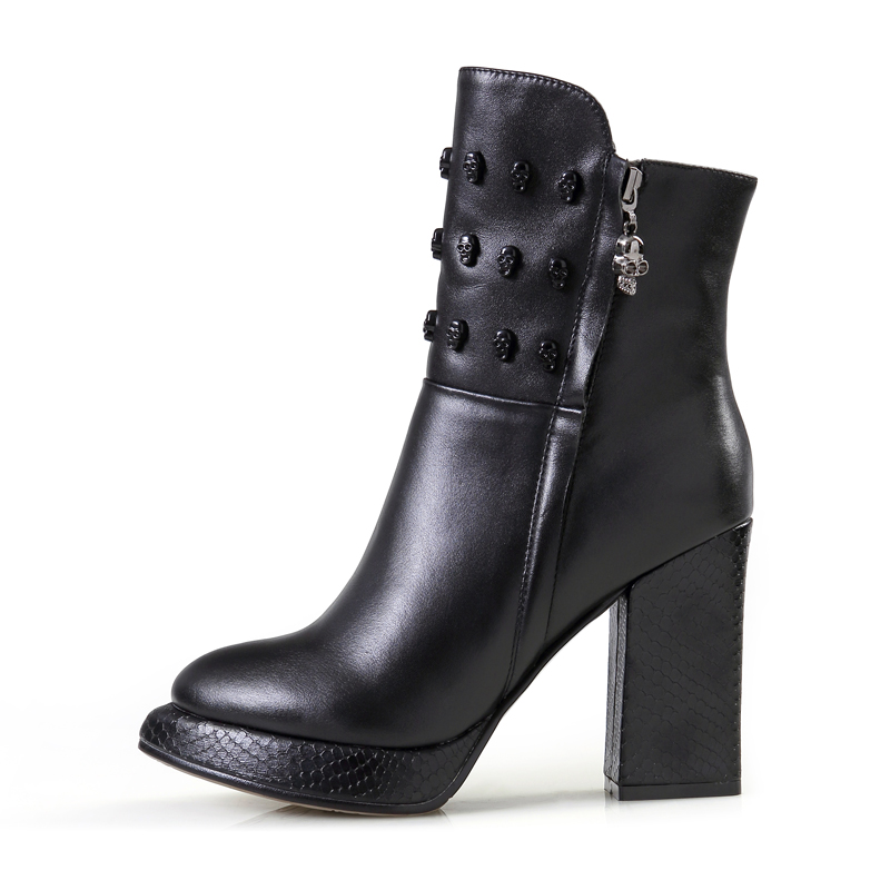 真皮短靴女秋款单靴粗跟裸靴女式靴防水台女靴子高跟鞋厚底马丁靴