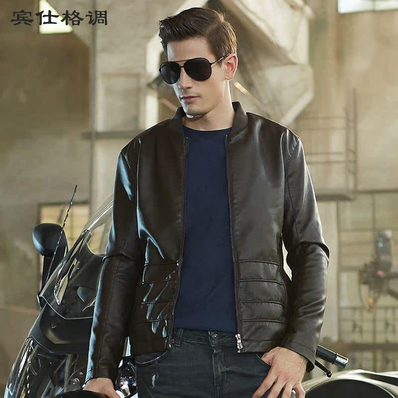 男士皮衣秋冬季新款仿皮加绒韩版修身短款皮夹克潮男装皮衣外套