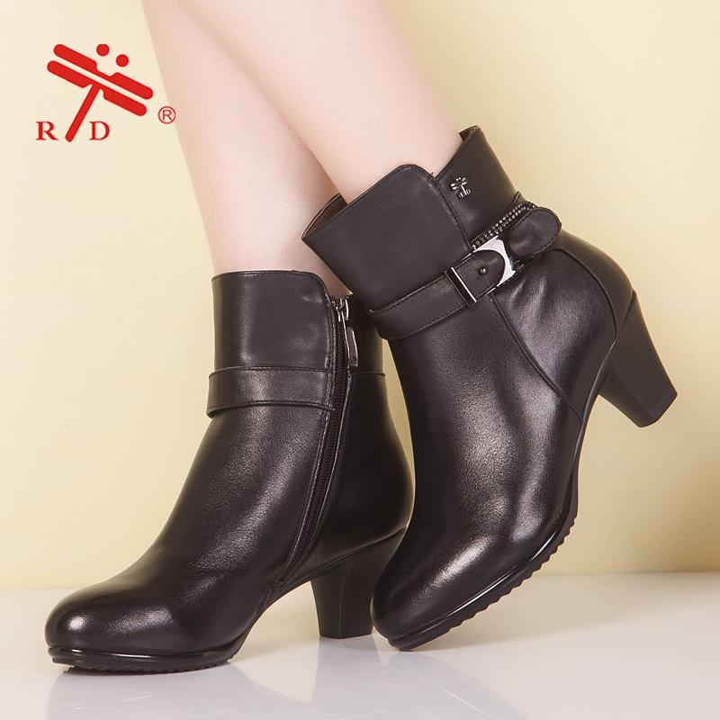 臺灣紅蜻蜓短靴 2014RD时尚秋冬新款 真皮欧美侧拉链高跟短筒女靴