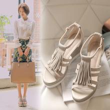 坡跟女鞋 2016夏季新款 子学生女士高跟凉鞋 真皮厚底流苏凉鞋 韩版