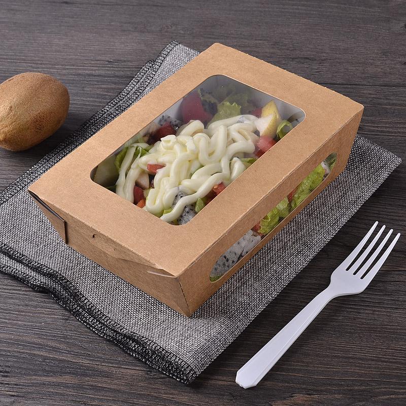 沙拉盒一次性寿司盒外卖纸盒快餐盒水果盒子100只