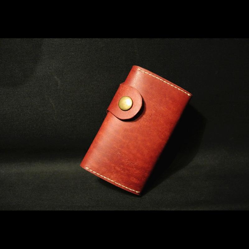 手工真皮私人订制商务男包系列头层植鞣牛皮精品套装砖红钥匙包