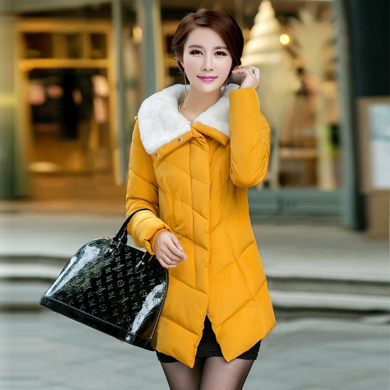 2014冬季女装中长款棉衣女外套毛领潮女棉服韩版修身连帽小棉袄
