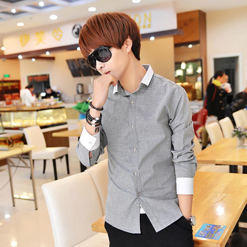 春秋新款长袖衬衫男装韩版修身拼色青少年休闲百搭衬衣学生衬衫