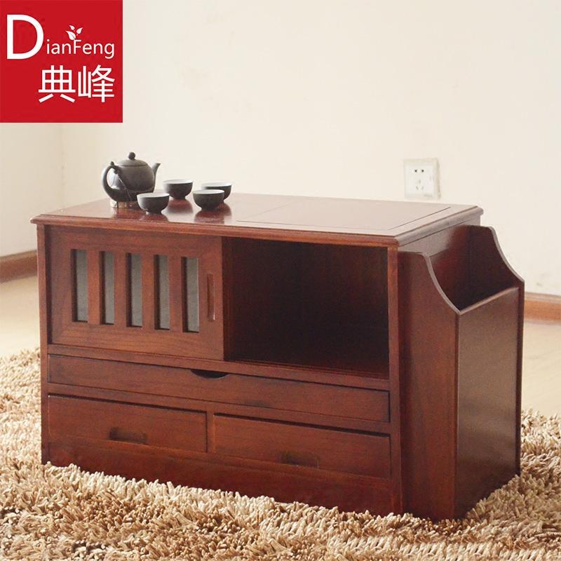 典峰家俱可移动茶车带轮实木功夫茶水柜茶桌小茶几台
