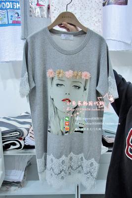 韩国东大门女装进口代购春季新款BAGEL美女蕾丝拼色短袖T恤连衣裙