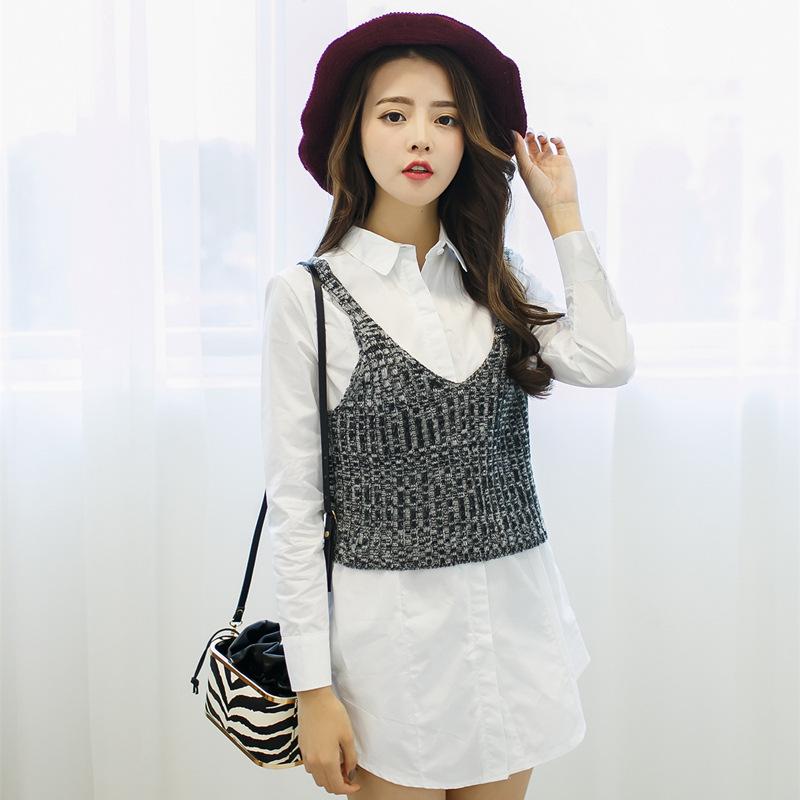 2015春装女装新款 气质淑女拼色翻领休闲长袖衬衫两件套上衣女