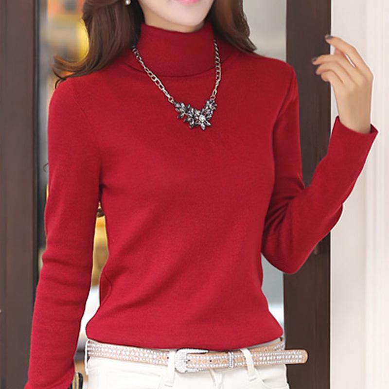 2014韩版长袖秋冬新款女装 加厚高领修身套头针织毛衣打底衫外套
