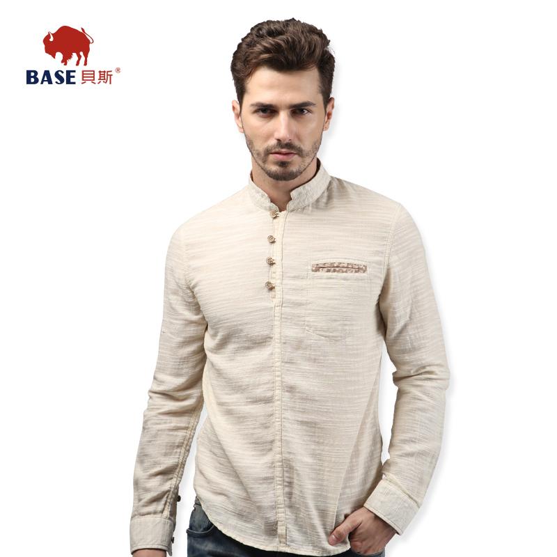 贝斯/Base男装小立领休闲衬衣 修身纯棉 文艺范 套头衬衫长袖秋装