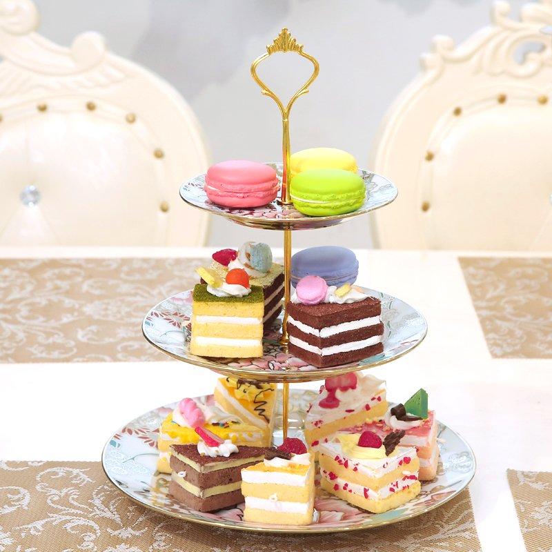 欧式客厅点心盘三层陶瓷创意下午茶干果盘水果生日蛋