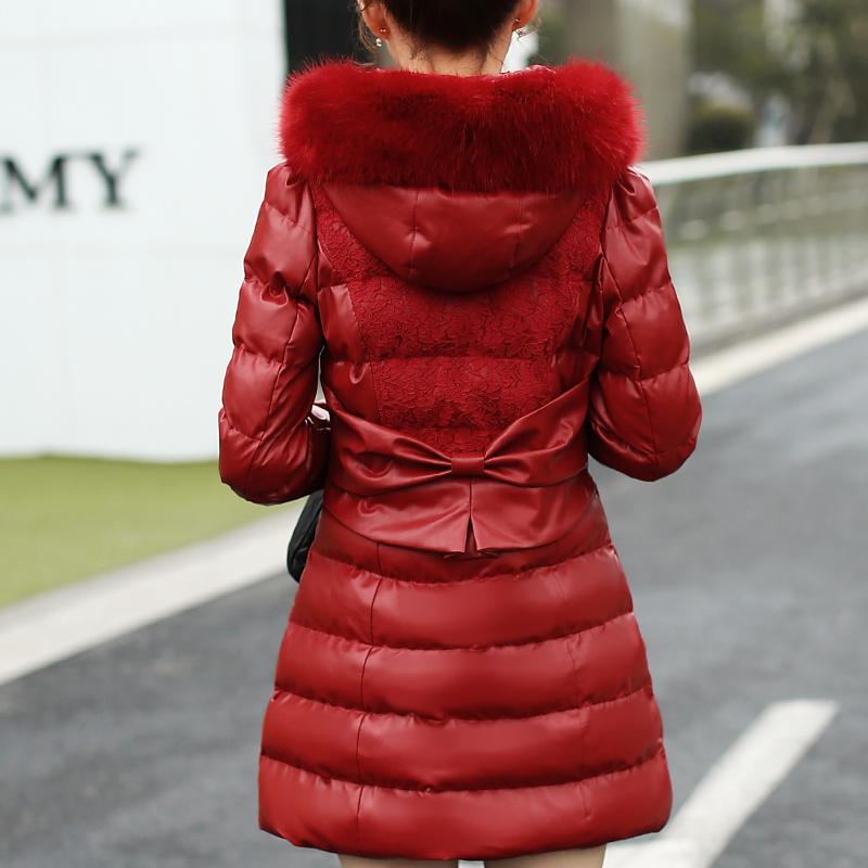 棉衣女士大毛领连帽秋冬加厚蕾丝棉服女韩版秋冬修身PU皮棉袄外套