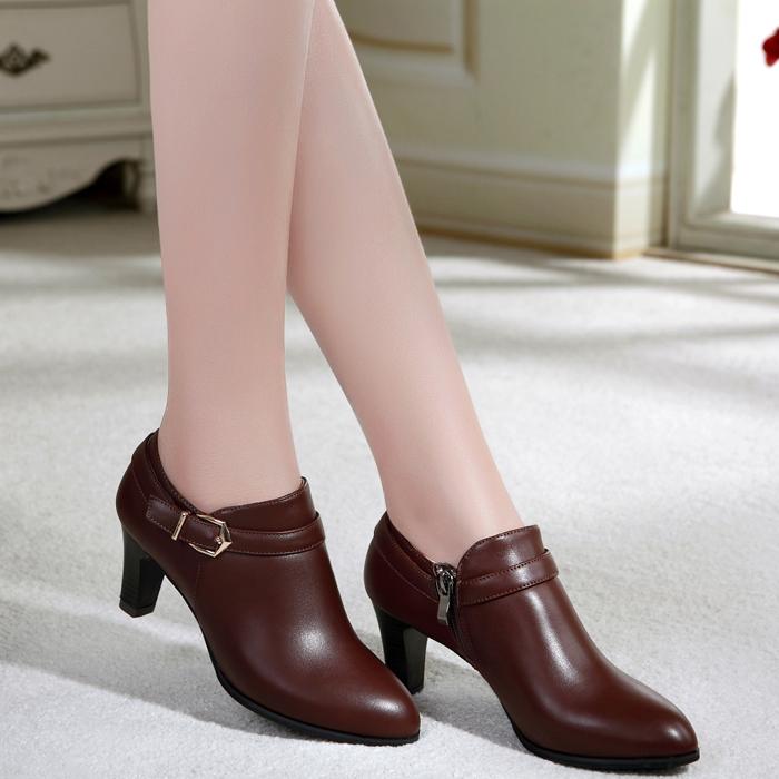 2014秋冬款中跟单鞋女粗跟高跟真皮女鞋头层牛皮深口女单鞋低帮鞋