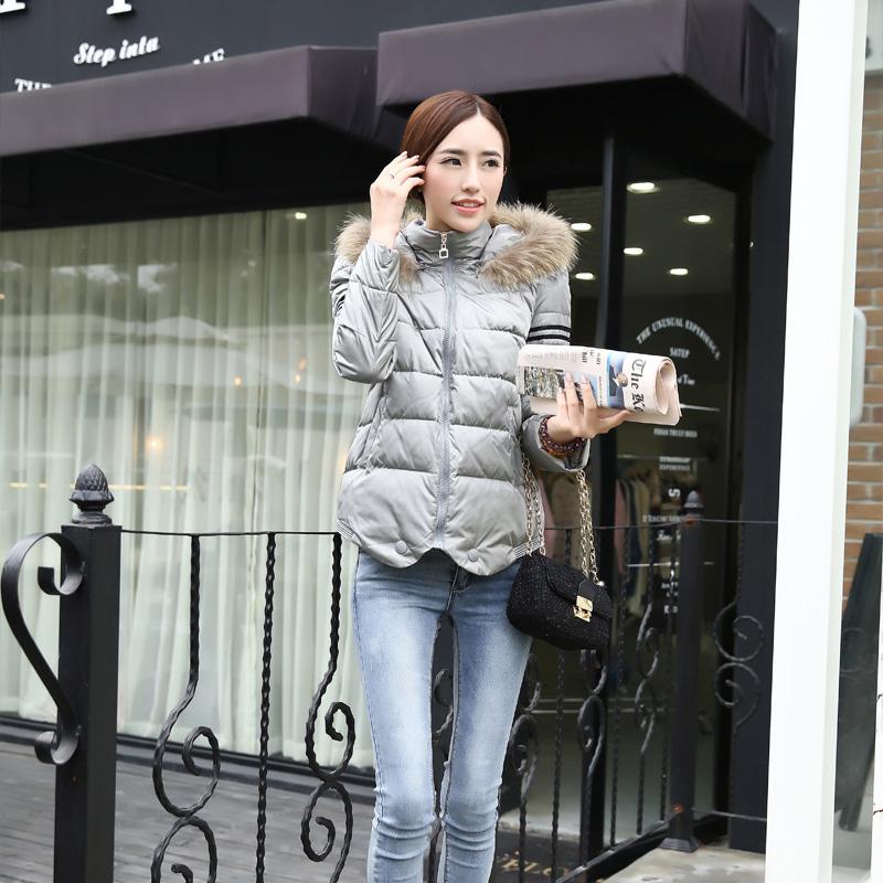 2014冬季新款女装 时尚百搭修身可脱卸帽棉衣韩版貉子毛领外套