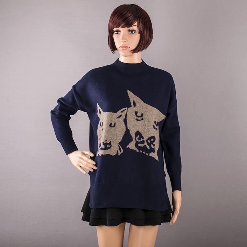女式羊毛衫羊绒衫清仓园领套头中长款秋冬毛衣秋冬女装嵌花针织衫