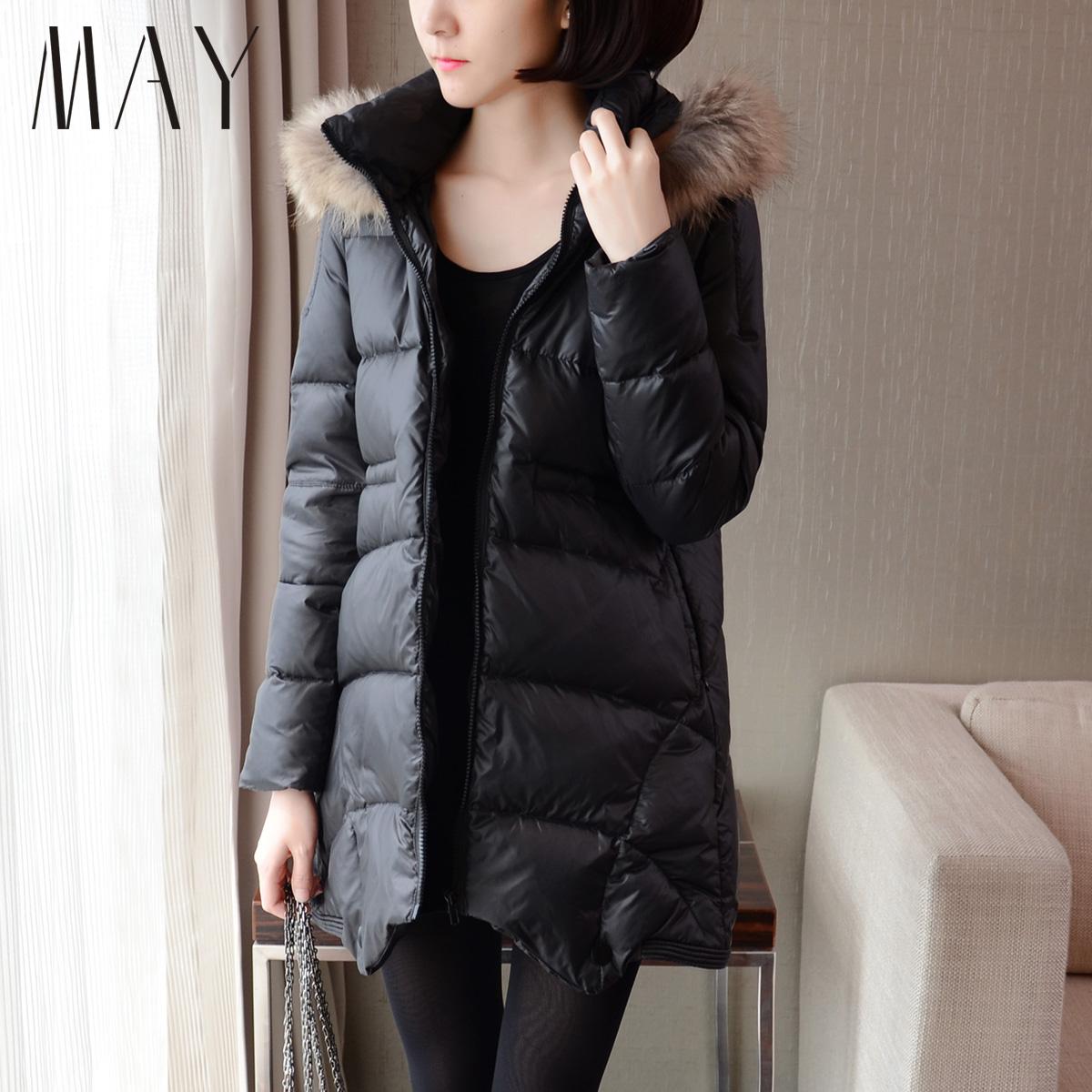 MAY 2014新款韩版宽松A字型毛领不规则下摆女中长款羽绒服外套潮
